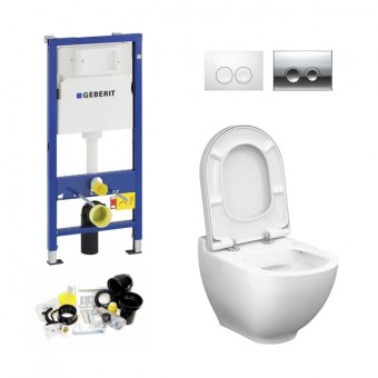 Geberit UP100, Delta Bediening, Bien Harmony WC Set, Zonder Rand, Rimless, Rimfree