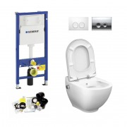 Geberit UP100, Delta Bediening, Bien Harmony Douche WC met Bidet, Zonder Rand, Rimless, Rimfree