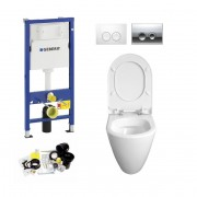 Geberit UP100, Delta Bediening, Bien Mineraal WC Set, Zonder Rand, Rimless, Rimfree