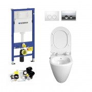 Geberit UP100, Delta Bediening, Bien Mineraal Douche WC met Bidet, Zonder Rand, Rimless, Rimfree
