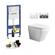 Geberit UP100, Delta Bediening, Bien Neptune WC Set, Zonder Rand, Rimless, Rimfree