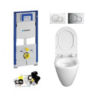 Geberit UP320, Sigma  Bediening, Bien Mineraal WC Set, Zonder Rand, Rimless, Rimfree