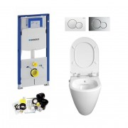 Geberit UP320, Sigma  Bediening, Bien Mineraal Douche WC met Bidet, Zonder Rand, Rimless, Rimfree