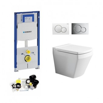 Geberit UP320, Sigma  Bediening, Bien Neptune WC Set, Zonder Rand, Rimless, Rimfree
